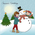 Two happy girls building a snowman. Vector illustr Stock Images
