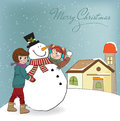 Two happy girls building a snowman. Vector illustr Royalty Free Stock Photo