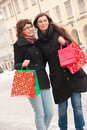 Two happy girls fter shopping Stock Photo