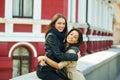 Two happy girls having fun , posing female friendship Royalty Free Stock Photo