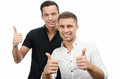 Two happy guys. Good mood. Joy and smiles. Royalty Free Stock Photo