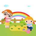 Two happy kids planting plants in the garden illustration of Stock Photo