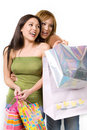Two happy ladies shopping Royalty Free Stock Photography