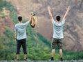Two Happy Men Enjoying Nature