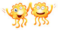 Two happy monsters illustration of the on a white background Royalty Free Stock Photos