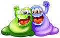 Two happy monsters illustration of the on a white background Stock Images