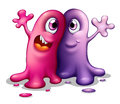 Two happy one eyed monsters illustration of the on a white background Royalty Free Stock Photo