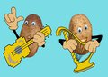 Two happy potatoes play music playing on harp and guitar Royalty Free Stock Photo