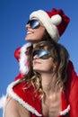 Two happy  Santa Clause having fun Royalty Free Stock Photo