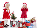 Two happy santa helpers Stock Image