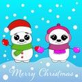 Two happy snowmen. Postcard with happy snowmen. Royalty Free Stock Photo