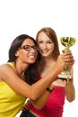 Two happy winners with prize Royalty Free Stock Image
