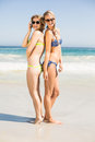 Two happy women in bikini and sunglasses standing back to back on the beach Stock Photos