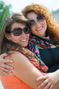 Two happy young beautiful women Royalty Free Stock Photos