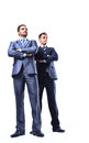 Two happy young businessmen full body isolated on white Royalty Free Stock Photos