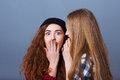 Two happy young girlfriends telling secrets. Girl Royalty Free Stock Photo