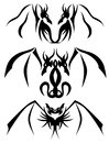 Two headed dragon tattoos set of dragons usable for Stock Photos