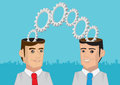 Two heads are better than one metaphor vector illustration cogs and toothed wheels coming out of men with open minds metaphorical Royalty Free Stock Images