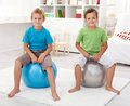 Two healthy boys playing in their room Royalty Free Stock Photos