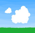 Two heapy clouds drifting across the sky above green grass Royalty Free Stock Photos