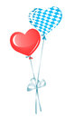 Two heart balloons, red and in bavarian colors Stock Photo