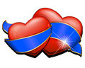 Two heart with blue ribbon vector illustration on white background Royalty Free Stock Photo