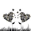 Two heart flowers shaped composed by butterflies in a white background Royalty Free Stock Image