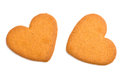 Two heart shaped cookies on white Stock Images