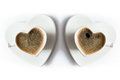 Two heart shaped cups of black coffee Royalty Free Stock Photo