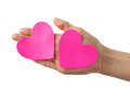 Two heart shaped paper notes empty in hand Stock Images