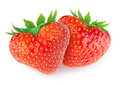 Two heart-shaped strawberries Royalty Free Stock Photo