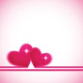Two heart shapes on colorful postcard background to the Valentine's day.