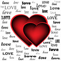 Two hearts on the background of the word love written in different fonts Stock Photo