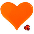 Two hearts big orange plastic heart and small red glass heart isolated on white background Royalty Free Stock Images