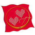 Two Hearts Cross Stitch Embroidery Royalty Free Stock Photo