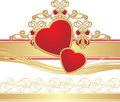 Two hearts with gothic ornament Royalty Free Stock Photo