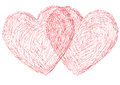 Two hearts illustration of the symbol of a heart Stock Photos