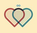 Two hearts joined together vector illustration Royalty Free Stock Images