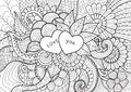 Two hearts laying on flowers for coloring book , cards and background