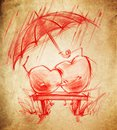 Two hearts in love sit under an umbrella sketch drawing on a cardboard Stock Photo