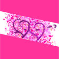 Two hearts on a pink background romance Stock Photo