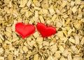 Two hearts red, couple symbol of love wedding base invitation celebratory greeting card, eco rustic base Royalty Free Stock Photo