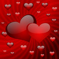 Two hearts on a red striped background Royalty Free Stock Image