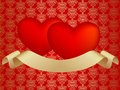 Two hearts with ribbon Royalty Free Stock Image