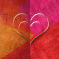 Two hearts romantic card in red tones copy space for message or write Royalty Free Stock Photography