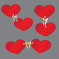 Two hearts set in a red connected by one gold tape with bow collection Royalty Free Stock Photo