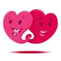 Two hearts vector illustration of cute isolated Stock Image