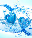 Two hearts from water Stock Photography