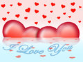 Two hearts on water valentines day composition with Royalty Free Stock Photo