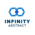 Two hexagonal chain links logo. Beautiful infinity logo template design. Blue abstract symbol Royalty Free Stock Photo